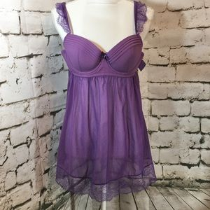 Parfait  by Affinities Purple Lace Trimmed Teddy